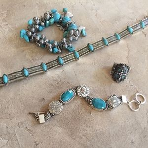 Four piece Imitation Turquoise Jewelry Set